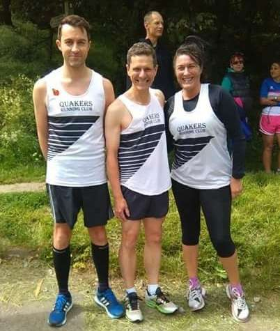 From the smiles you can tell thepicture was taken before Chris, Phil and Leigh started their leg at Clay Bank!