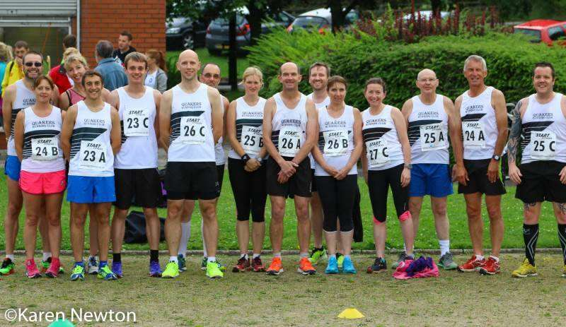 The Quaker runners in their black and white vests and colourful trainers!